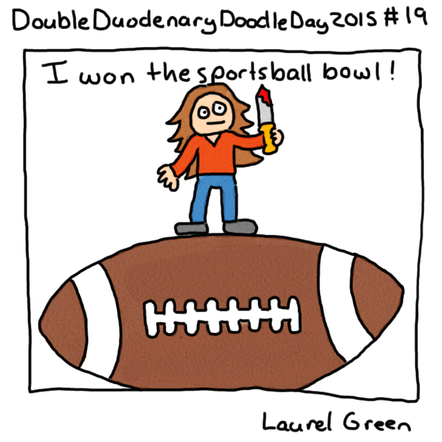 a drawing of laurel green standing atop a giant football and holding a bloody sword