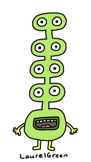 a drawing of a creature with eyes stacked on top of eyes