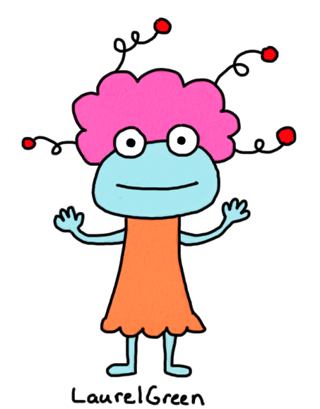 a drawing of a creature with fluffy hair with strange springy things sticking out of it