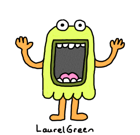 a drawing of a creature with a large open mouth