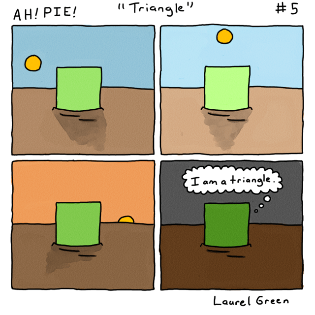 a comic about a square that is a triangle
