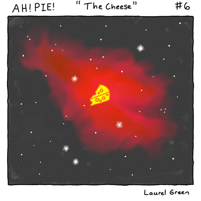 a comic of a piece of cheese floating in front of a nebula