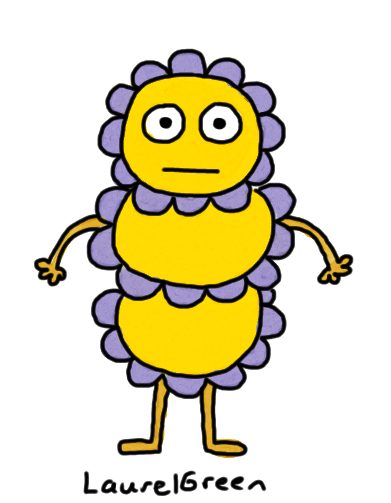 a drawing of a creature covered in blue bumps
