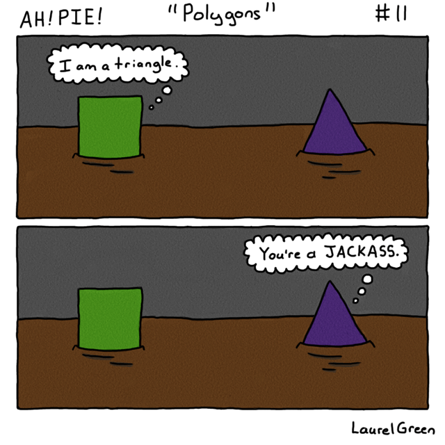 a comic of a square and a triangle have an argument