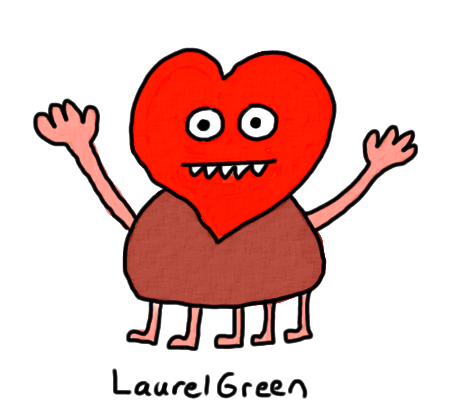 a drawing of a heart creature