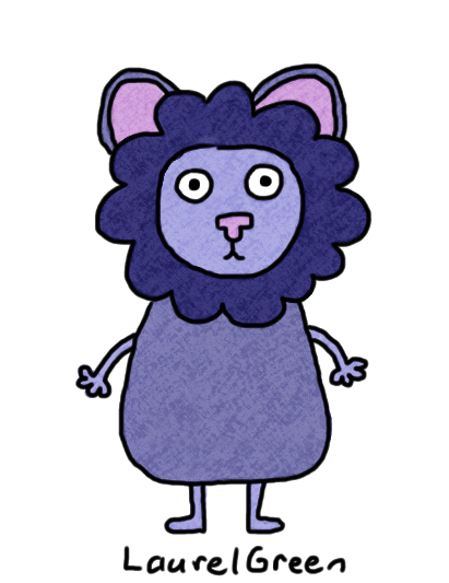 a drawing of a blue lion