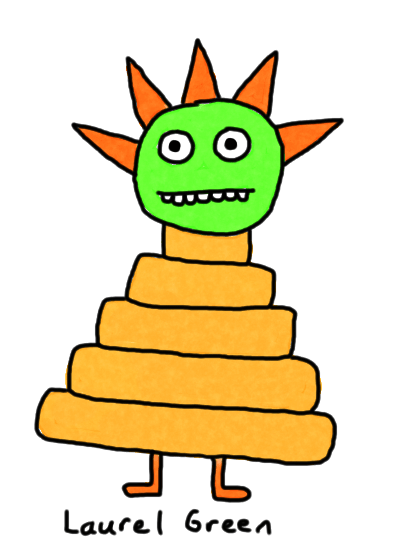 a drawing of a guy that is also a pyramid