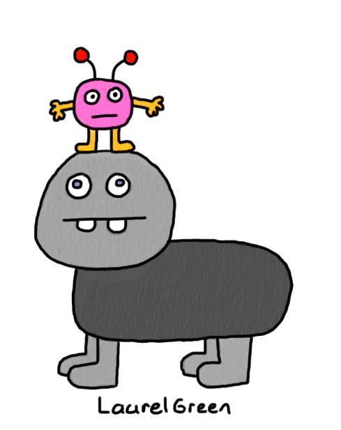 a drawing of a little critter riding a bigger critter
