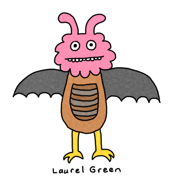 a drawing of a mutant winged creature