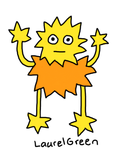 a drawing of a guy that is covered in spikes
