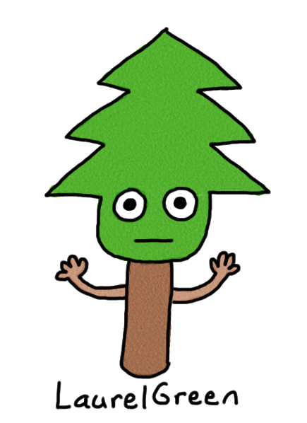 a drawing of a person who is part tree