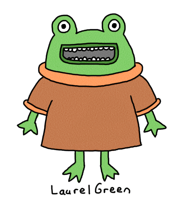 a drawing of a frog wearing a sweater