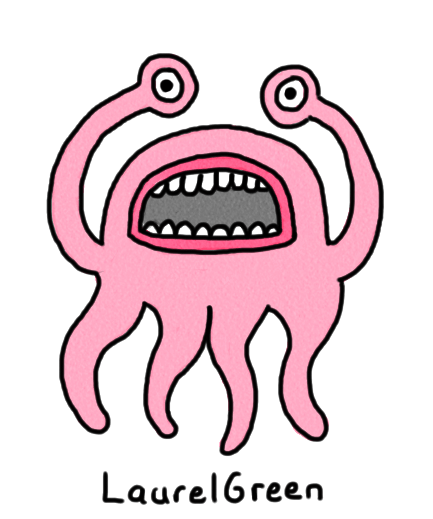 a drawing of a pink octopus thing