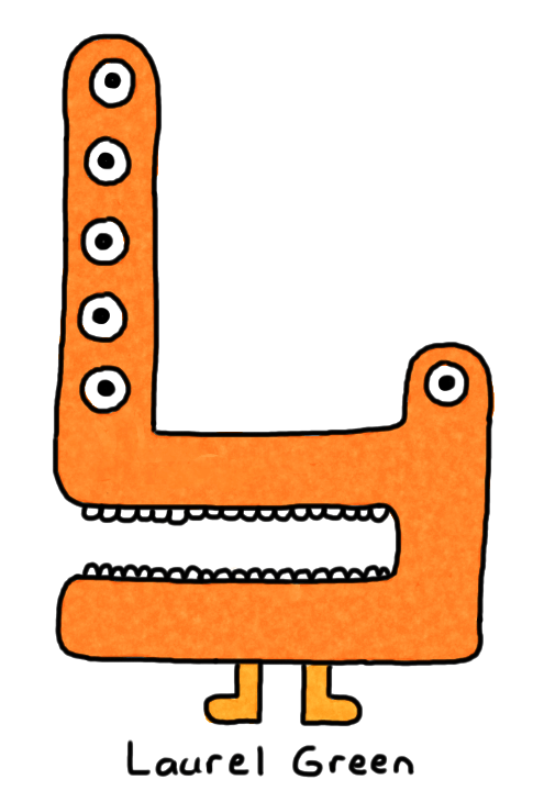 a drawing of a deformed orange critter with six eyes