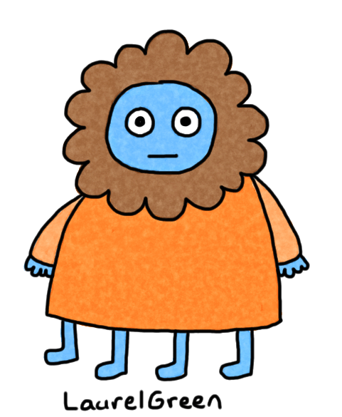 a drawing of a person with a beard all around their head and four legs