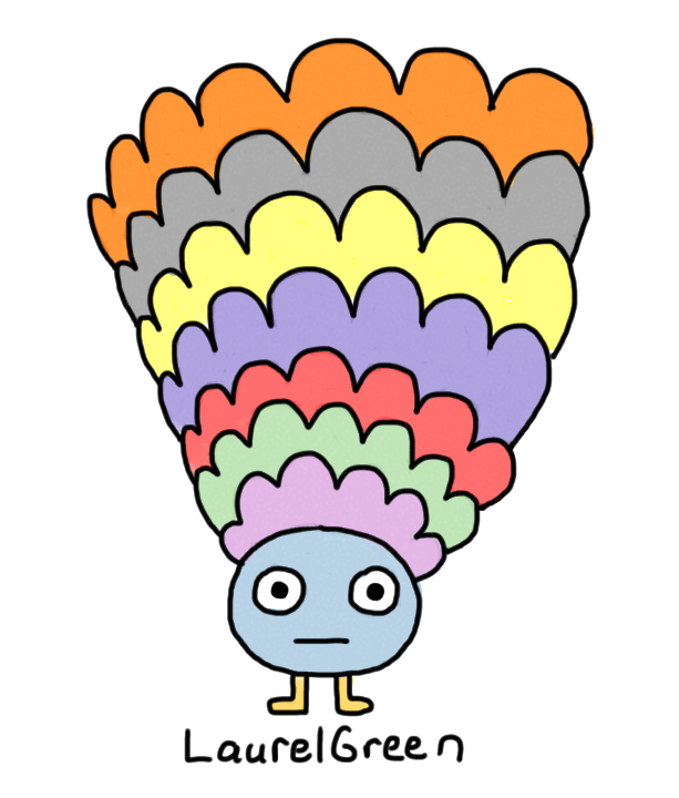 a drawing of a critter with giant colourful wig