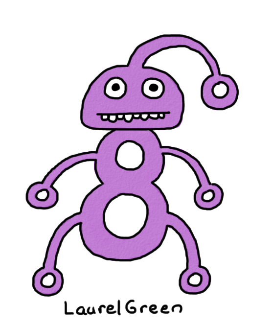 a drawing of a purple person full of holes