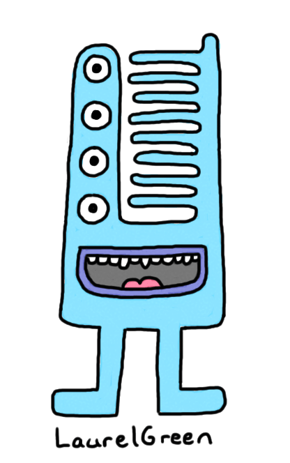 a drawing of a blue creature with a strangely-shaped head covered with four eyes and spikes