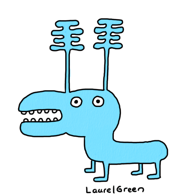 a drawing of a blue moose thing