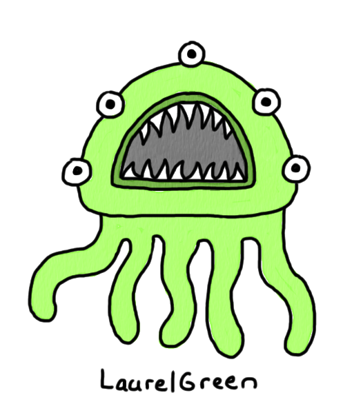 a drawing of a green thing with five eyeballs and tentacles
