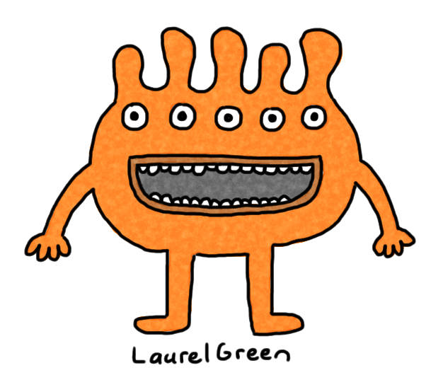 a drawing of an orange creature with five eyes