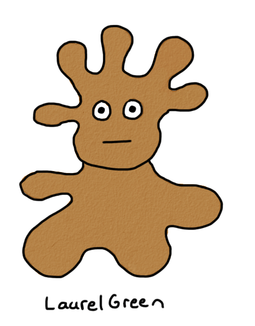 a drawing of a brown goop
