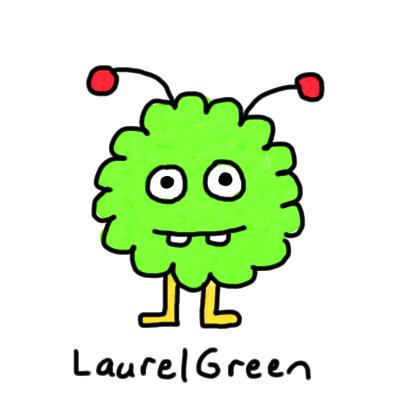 a drawing of a little green critter