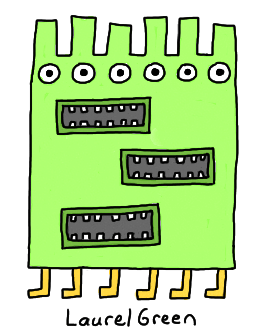a drawing of a square creature with three mouths
