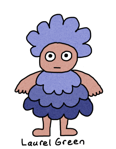 a drawing of a person with blue hair