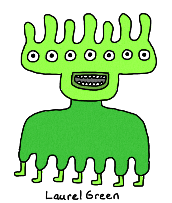 a drawing of a green thingy with seven eyes and seven legs