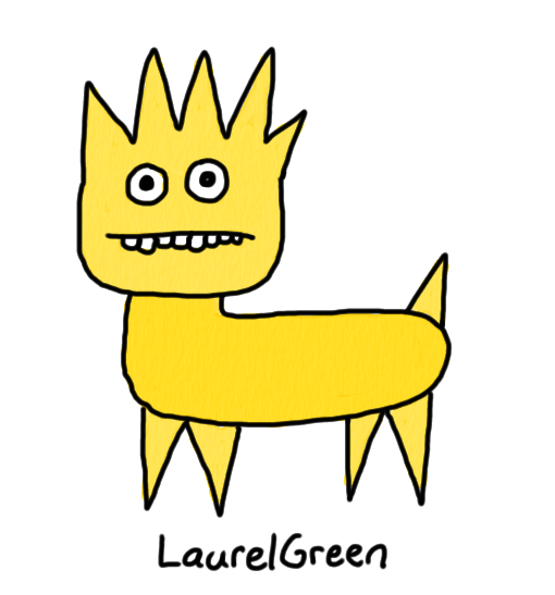 a drawing of a yellow spiky creature