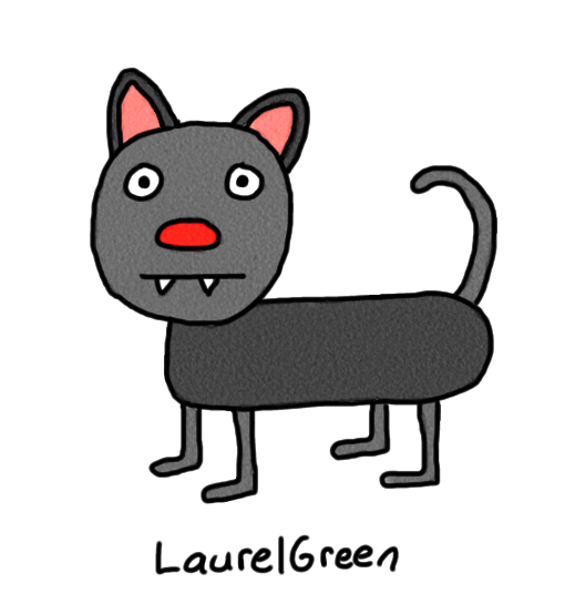 a drawing of a black cat