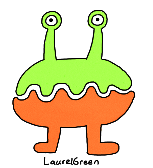 a drawing of a weird two-tone critter
