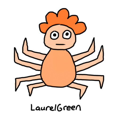 a drawing of a half-spider half-boy
