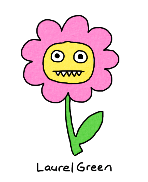 a drawing of a flower with fangs