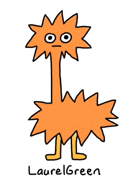 a drawing of a spiky orange critter
