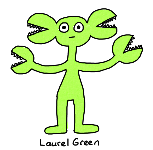 a drawing of a green creature with mouths coming out of its ears and hands