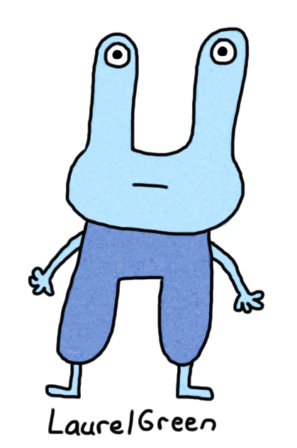 a drawing of a boring blue thing