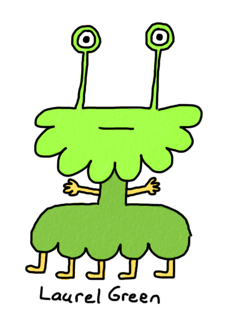 a drawing of a lumpy, green creature