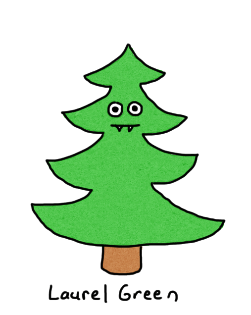 a drawing of a tree with eyes and fangs