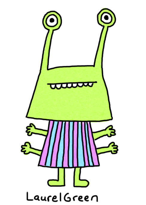 a drawing of an alien with eyestalks wearing vertical stripes