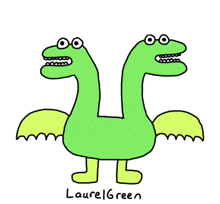 a drawing of a two-headed dragon