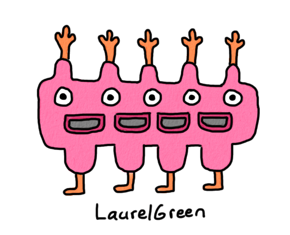 a drawing of a creature with five eyes, four mouths and four legs