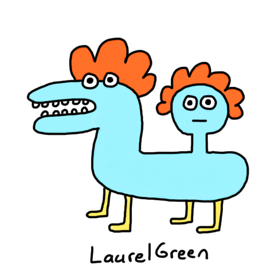 a drawing of a horse with a head growing out of its butt