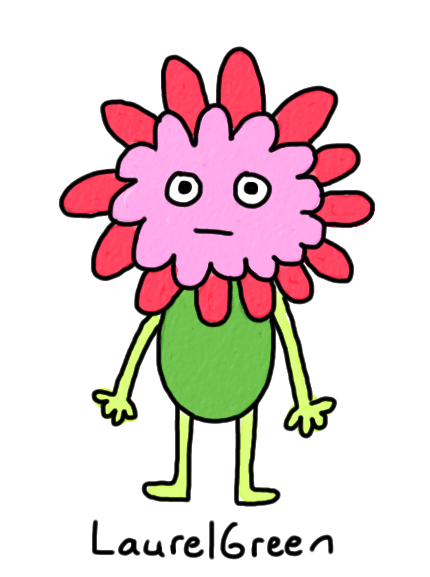 a drawing of a derpy flower creature