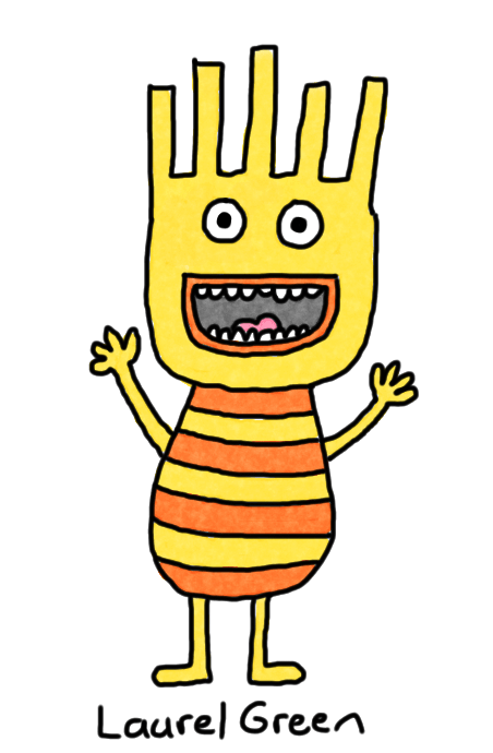 a drawing of a happy person with a striped shirt