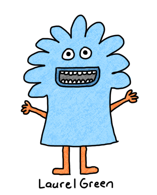 a drawing of happy, blue creature.