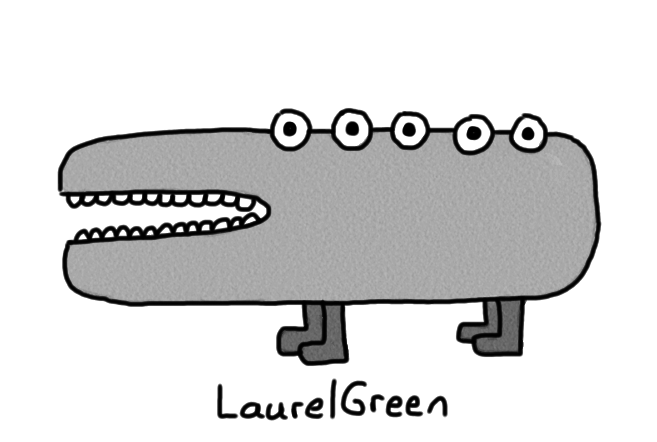 a drawing of a grey quadruped with five eyes