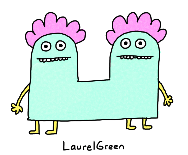 a drawing of two creatures attached at the butt