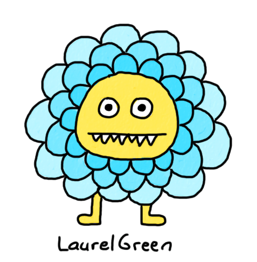 a drawing of a round critter covered in blue petals